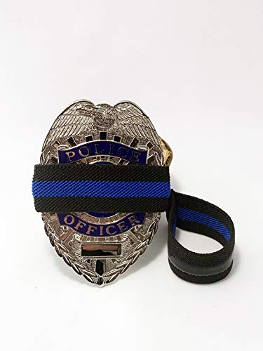 - 4-Pack Thin Blue Line Stripe Black Police Officer Badge with Gripper | Shield Funeral Honor Guard Mourning Band Strap 3/4