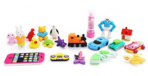 SKKSTATIONERY 20 PCS Eraser Set, Cute Cartoon Favor, 12 Different Styles Assorted ()
