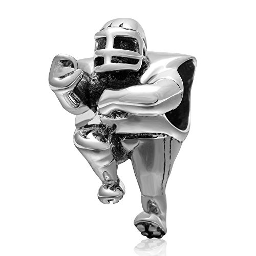 No.1 Rugby Player Charm - 925 Sterling Silver American Football Charm Sport Sportsman Bead fit for Charms Bracelets