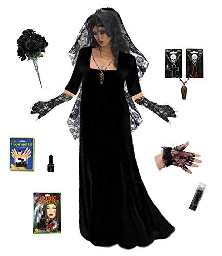 Sanctuarie Designs Women's Goth Corpse Bride Deluxe Plus Size Supersize Halloween Kit/4xT/Black/]()