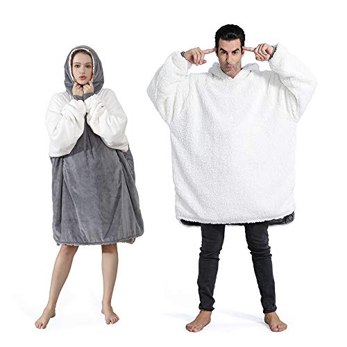 Sherpa Blanket Sweatshirt,Over-Sized Hoodie Blanket with Large Pocket,Soft Warm Comfortable Reversible,One Giant Size for Adults & Children, White Grey Color Matching ()