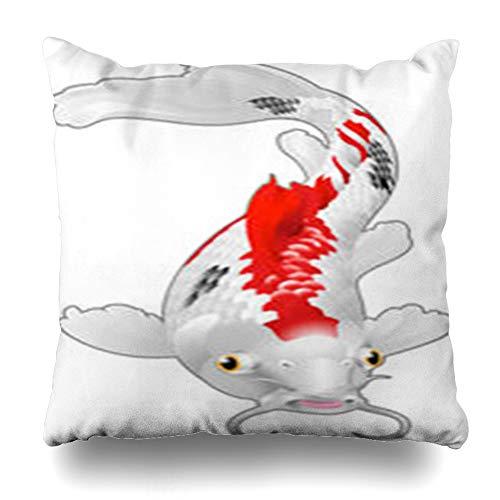 Decor Champ Throw Pillow Covers China Koi Carp Artwork Love Wildlife Fish Carps Red Japanese Chinese Home Decor Sofa Pillowcase Square Size 16 x 16 Inches Cushion Cases
