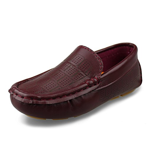 Oxfords Shoes Burgundy (Hawkwell Kids Loafer Moccasin Oxford Driver Shoes(Toddler/Little Kid/Big Kid),Burgundy PU,9 M US)