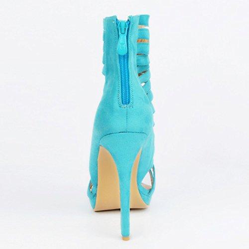 zipper sandales haut style soirée creux Handmade Femmes talon soir blue chaussures 12cm Kolnoo wt60qvx