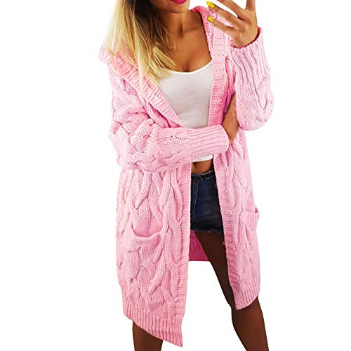 - Gallity Women Long Knit Cardigans Cable Hoodie Open Front Cardigans Long Sleeve Sweaters Hood with Pocket (M, Pink)