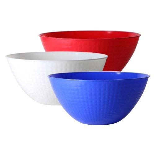 Party Dimensions 100oz Pixel Bowls - Set of 3 - Patriotic Red, White & Blue