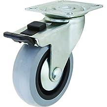Shepherd Hardware 3546 G1 3-Inch Swivel Plate Caster with Brake, Rubber Wheel, 121-lb Load Capacity