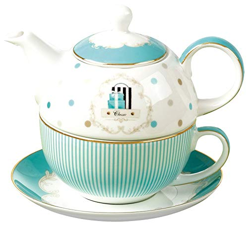 Tea Set Saucer Teapot Cup - Jusalpha Bone China Blue Teapot and Server Set for One, Teapot Cup and Saucer Set (Teapot Set 04)