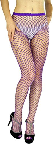 ToBeInStyle Women's Seamless Diamond Net Spandex Nylon Blend Pantyhose - PURPLE - One Size -