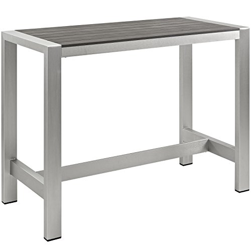 Modway Shore Outdoor Patio Aluminum Bar Table in Silver Gray