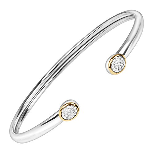Diamond Silver Cuff (1/5 ct Diamond Circle Cuff Bangle Bracelet in Sterling Silver & 14K Gold)