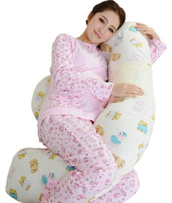 Canton Cotton (Canton Sweet Pregnant Woman Bed Multifunctional Pillows with Bear Picture Waist Support Bolster 100% Cotton Protect Gravida Pregnant Woman and Baby)