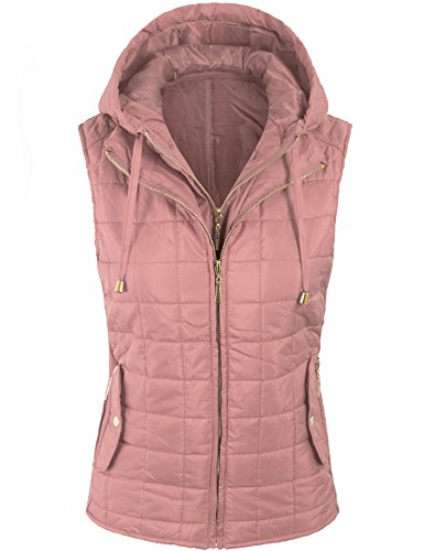 Women Vest (BOHENY Womens Quilted Fully Lined Lightweight Vest with Hoodie-M-Mauve_Hoodie)