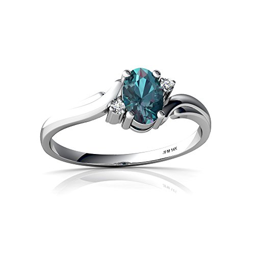 14kt White Gold Lab Alexandrite and Diamond 6x4mm Oval Swirls Ring - Size 5.5 - White Gold Oval Swirl
