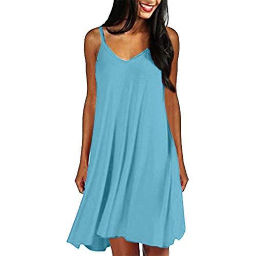 Satin Sundress - iLUGU Women's Casual Plain Simple T-Shirt Loose Summer Dresses Sundress