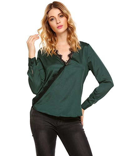 Green Silk Blouse - Zeagoo Women's Sexy Lace Stitching Long Sleeve V-Neck Solid Satin Blouse Top Shirt