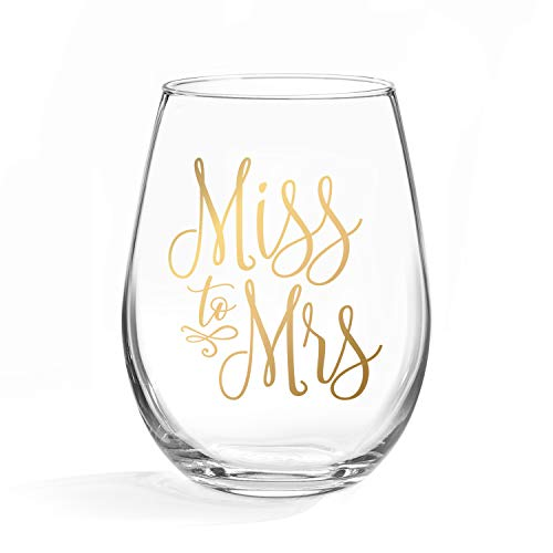 Miss to Mrs Wine Glass - 20 oz Stemless Wine Glass with gold foil decal - Perfect Engagement Party, Bridal Shower, Bachelorette Party or Wedding Day Gift for the Bride to Be - Gift box included! (LEAD]()