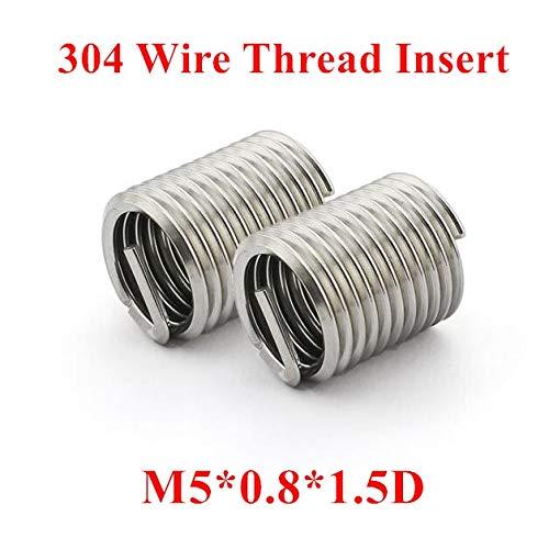 Ochoos 100pcs M50.81.5D Wire Thread Insert 304 Stainless Steel M5 Screw Bushing m51.5D Wire Screw Sleeve Thread Repair Insert