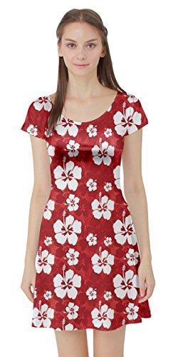CowCow Womens Hibiscus Hawaii Flowers Floral Summer Tropic Tropical Leafs Plumeria Short Sleeve Dress, XS-5XL