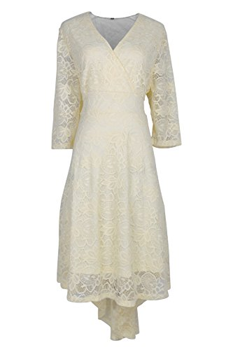 Princess Neck Fit Beige Bridesmaid Womens Dress Weeding A Sleeve Line Floral Slim Low Prom 3 Cocktail 4 Lace V High Anatoky For fAZEpwqE