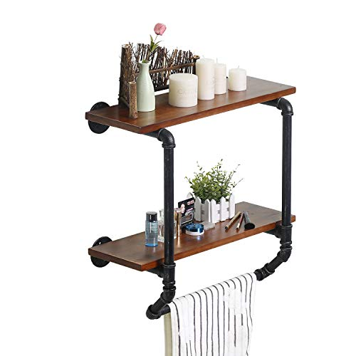 Ucared Industrial Pipe 2 Tiers Wall Mounted Shelves,Rustic Wall Shelf with Towel Bar,24' Towel Racks for Bathroom Organizer Storage,Wood Metal Wall Mounted Towel Bar,Bathroom Shelf Over Toilet,Hanging