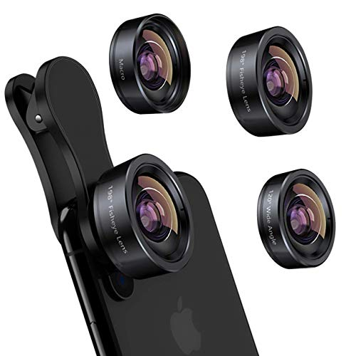 Phone Camera Lens 3 in 1 iPhone Lens Kit, Fisheye Lens + Super Wide-Angle Lens + Macro Lens for Samsung Android Smartphone
