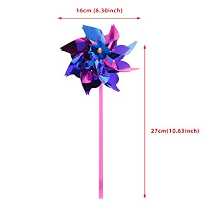 Autone 10Pcs Plastic Windmill Pinwheel Wind Spinner Kids Toy Garden Lawn Party Decor: Toys & Games