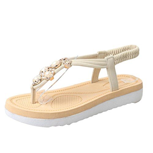 IGEMY Flache Schuhe für Frauen, Bead Bohemia Leisure Lady Sandalen. Peep-Toe Outdoor Schuhe Schwarz Rot Beige Beige