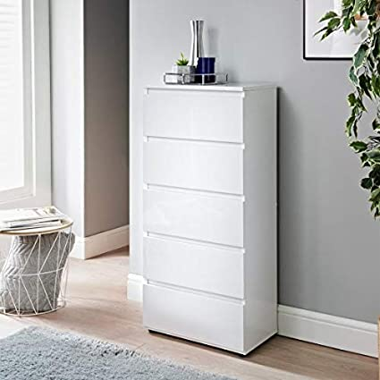 Ra Homestore New Elegant Norsk 5 Drawer Chest With A Stunning High Gloss Finish In White Amazon Co Uk Kitchen Home