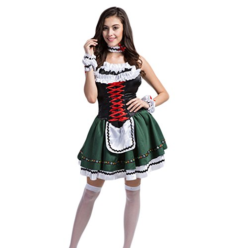 Hongyuanbb Sexy Oktoberfest Beer Waiter Halloween Fancy Party Bar Cafe Corsets Dress Costume (Bavarian Outfit)