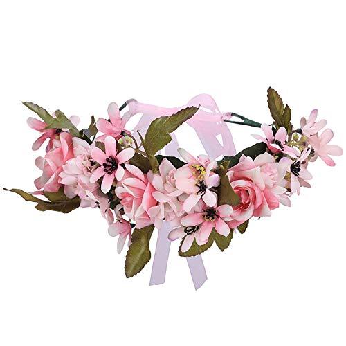 - Flower Crown Women Flower Wedding Hair Accessories Girls Wreath Floral Headwear Bridesmaid Floral Headband,21-B