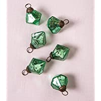 Luna Bazaar Mercury Glass Mini Ornaments (1 to 1.5-inch, Vintage Green, Elizabeth Design, Set of 6) -Great Gift Idea, Vintage-Style Decorations for Christmas, Special Occasions, Home Decor and Parties