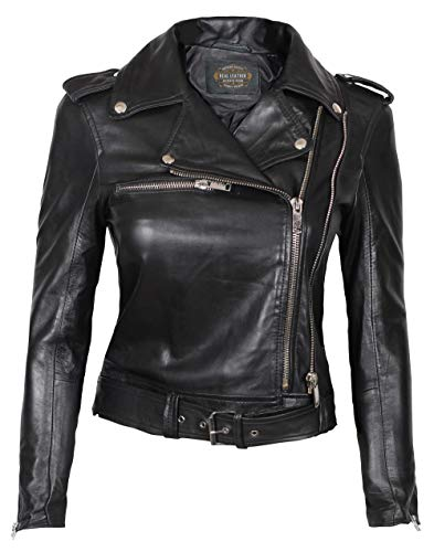 Womens Moto Jacket - Black Genuine Lambskin Leather Asymmetrical Jacket Women | Dolores, XS