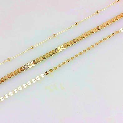 Simple Layered Coin Chevron Fishbone Chain Beads Disc Choker Necklace for Women