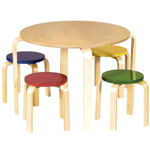 Guidecraft Nordic Table and Stool Set, Primary Colors