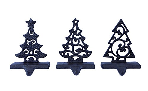 Metal Tree Christmas Stocking Holders - Set of 3 Assorted Styles ()