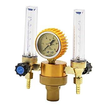 Hanchen Regulador de Presión de Soldadura TIG MIG Medidor de Flujo de Argón CO2 Gas 25 MPa con Doble Caudalímetro CE