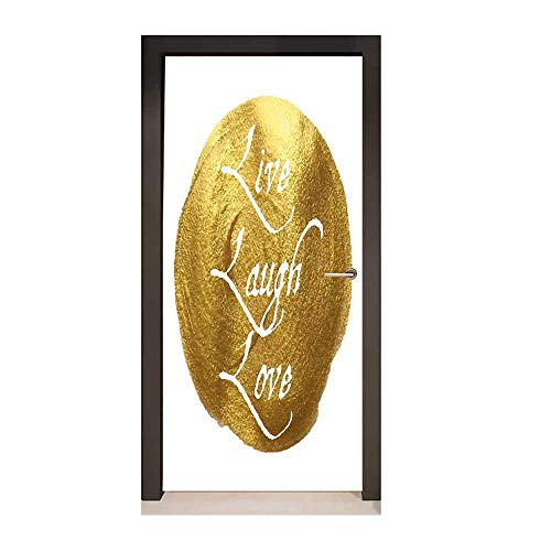 Homesonne Live Laugh Love Decor Decorative Door Sticker Inspirational Words Life Message on a Big Gold Colored Spot Modern Design Art Door Decals White Gold,W23.6xH78.7]()