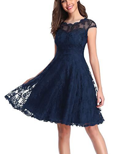 CHUNNA Women's Vintage Floral Lace Cap Sleeve Elegant Bridesmaid Dress Blue