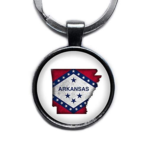 (United States Silhouette State Flag Arkansas AR Silver Keychain Keyring)