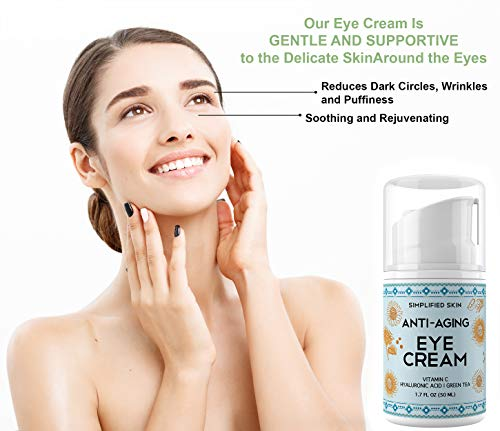 41L9Cx 52gL - Eye Cream for Dark Circles, Wrinkles, Bags & Puffiness. Best Under & Around Eyes Anti-Aging Treatment with Vitamin C, Hyaluronic Acid, Green Tea & Organic Rosehip oil by Simplified Skin 1.7 oz