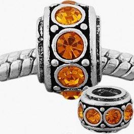 Citrine Round Charm (Round Citrine Gold Rhinestone Charm Bead)