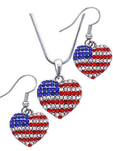 cocojewelry USA US American Flag Patriotic Red Blue Heart Earrings Jewelry (Silver-tone Hook Set)
