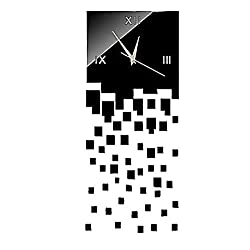 DIY Wall Clock Made of Acrylic Material, Cascade of bricks, Looks Like Mirror, Modern Design, for Home Living Room Bedroom Kitchen Baby Child Novelty Luxury Crystal Wall Silent Watch Extra Large, New, Black