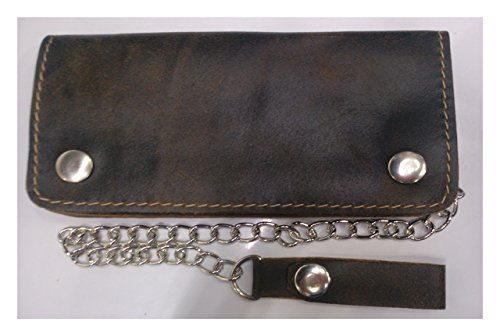 Trucker Clutch Wallet Distressed Brown with Safty Chain Size = 3.5 X 7.0 Inches