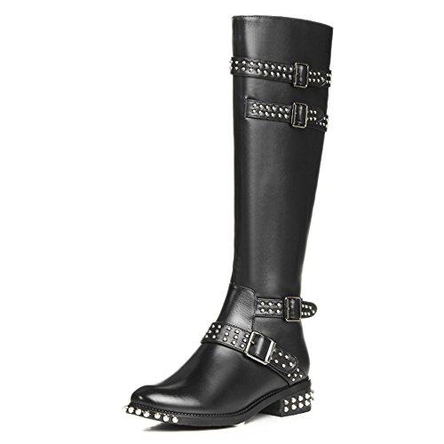 Nine Seven Genuine Leather Womens Round Toe Chunky Heel Rivets Handmade Buckles Knee High Boots Black