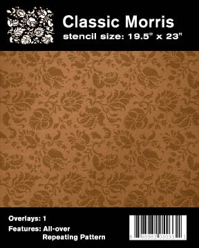 Faux Like a Pro William Morris Wallpaper Stencil, 19.5 by 23-Inch, Single Overlay -