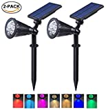 BAXIA Solar Spot Lights Outdoor, 7 LED Color Changing with Auto On/Off, Rechargeable Solar Lights for Landscape, Yard, Patio, Garden (2 Pack)