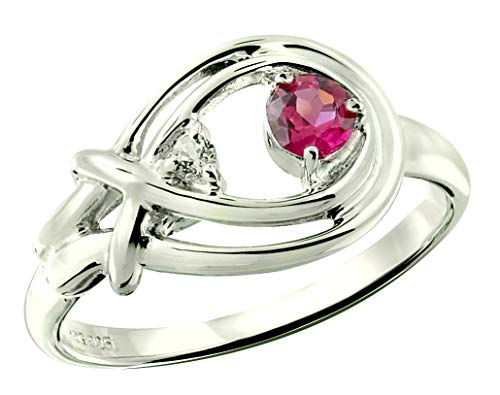 - RB Gems Sterling Silver 925 Ring Genuine Gemstone Round 4 mm, Rhodium-Plated Finish, Knot Style (10, pink-tourmaline)