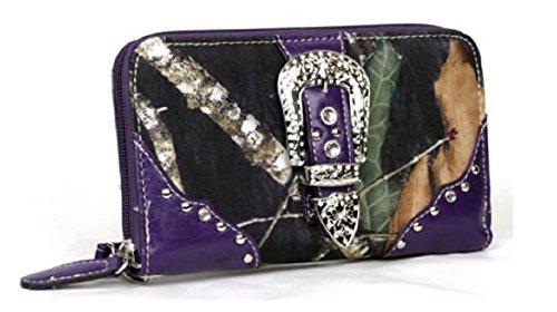 (DH JP Camo Bling Rhinestone Belt Buckle Womens Western Zipper Wristlet Wallet (Purple))